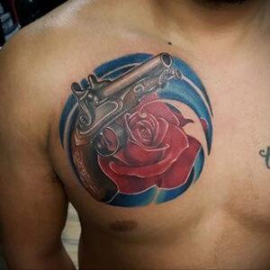 тату револьвер и роза 16.02.2021 №0048 - tattoo rose revolver - tatufoto.com