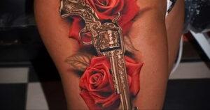 тату револьвер на бедре 16.02.2021 №0014 - revolver tattoo on hip - tatufoto.com