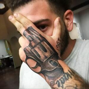 тату револьвер на руке 16.02.2021 №0018 - revolver tattoo on arm - tatufoto.com