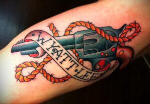 тату револьвер на руке 16.02.2021 №0035 - revolver tattoo on arm - tatufoto.com
