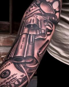 тату револьвер фото пример рисунка 16.02.2021 №0006 - tattoo revolver - tatufoto.com