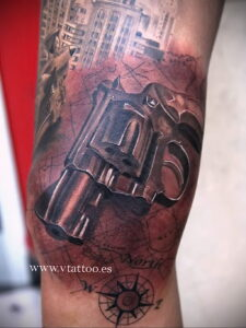 тату револьвер фото пример рисунка 16.02.2021 №0041 - tattoo revolver - tatufoto.com