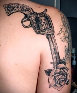 тату револьвер фото пример рисунка 16.02.2021 №0060 - tattoo revolver - tatufoto.com