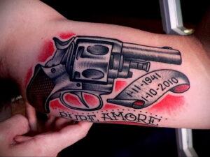 тату револьвер фото пример рисунка 16.02.2021 №0087 - tattoo revolver - tatufoto.com