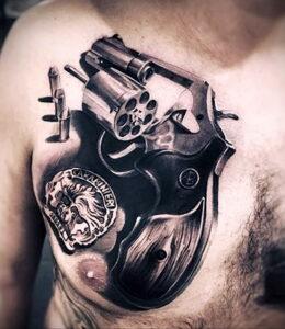 тату револьвер фото пример рисунка 16.02.2021 №0118 - tattoo revolver - tatufoto.com