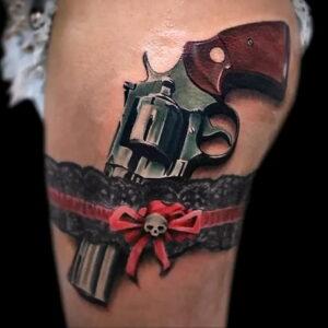 тату револьвер фото пример рисунка 16.02.2021 №0126 - tattoo revolver - tatufoto.com