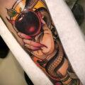 Пример тату с яблоком и змеей 03.03.2021 №017 - snake with apple tattoo - tatufoto.com