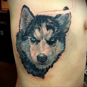 Тату с собакой породы Хаски 08.03.2021 №008 - husky tattoo - tatufoto.com