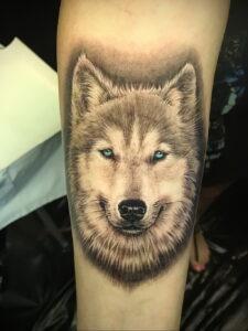 Тату с собакой породы Хаски 08.03.2021 №025 - husky tattoo - tatufoto.com