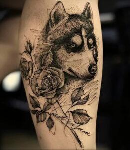 Тату с собакой породы Хаски 08.03.2021 №030 - husky tattoo - tatufoto.com