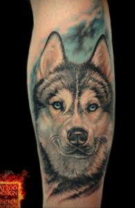 Тату с собакой породы Хаски 08.03.2021 №033 - husky tattoo - tatufoto.com