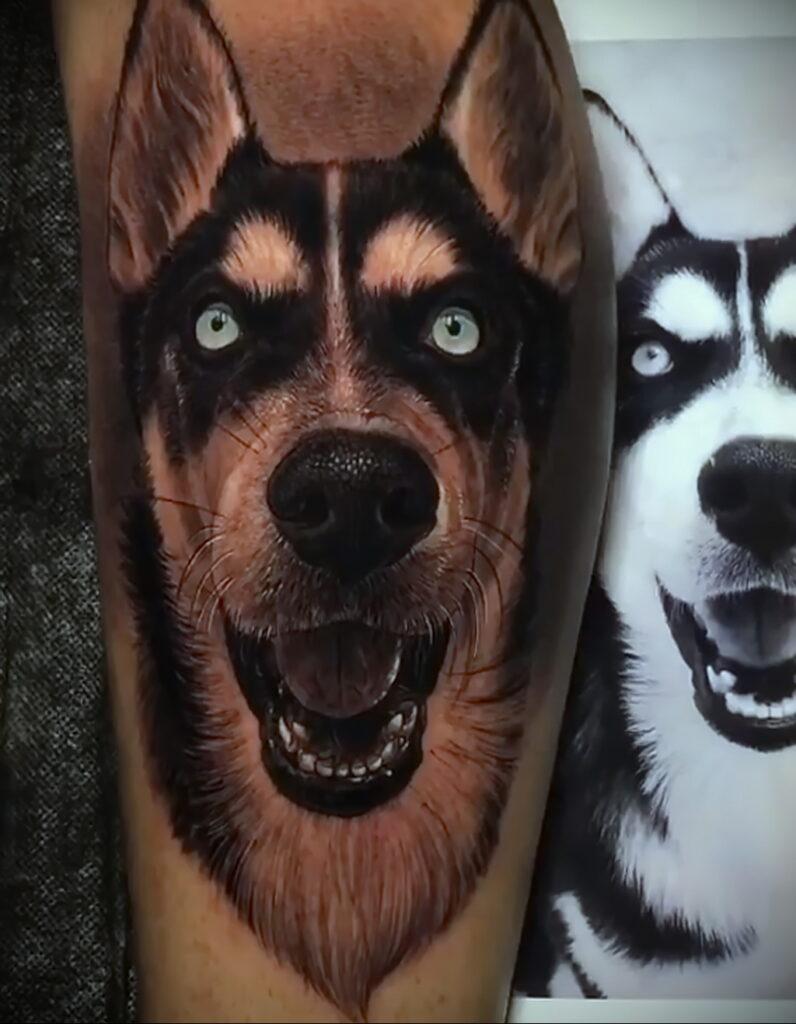 Фото Рисунка тату с собакой породы Хаски 08.03.2021 №282 - husky tattoo - tatufoto.com