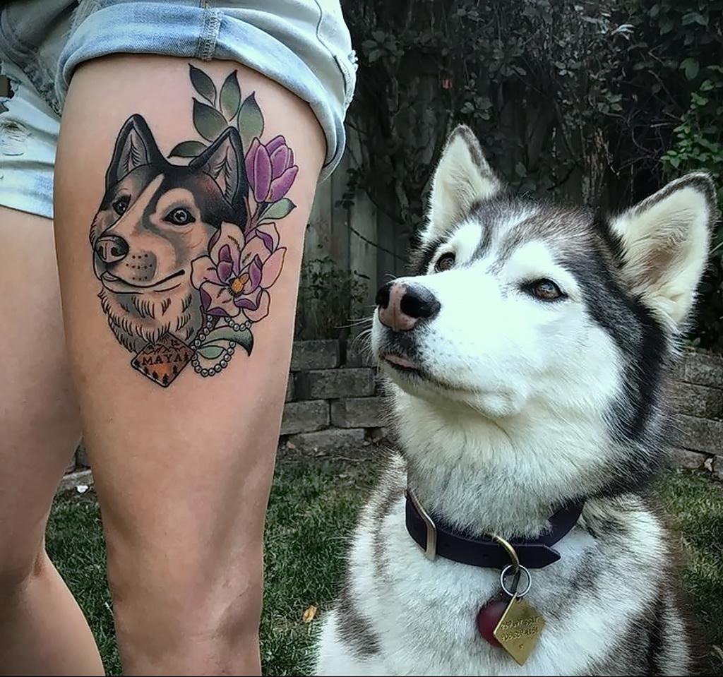 Фото Рисунка тату с собакой породы Хаски 08.03.2021 №305 - husky tattoo - tatufoto.com