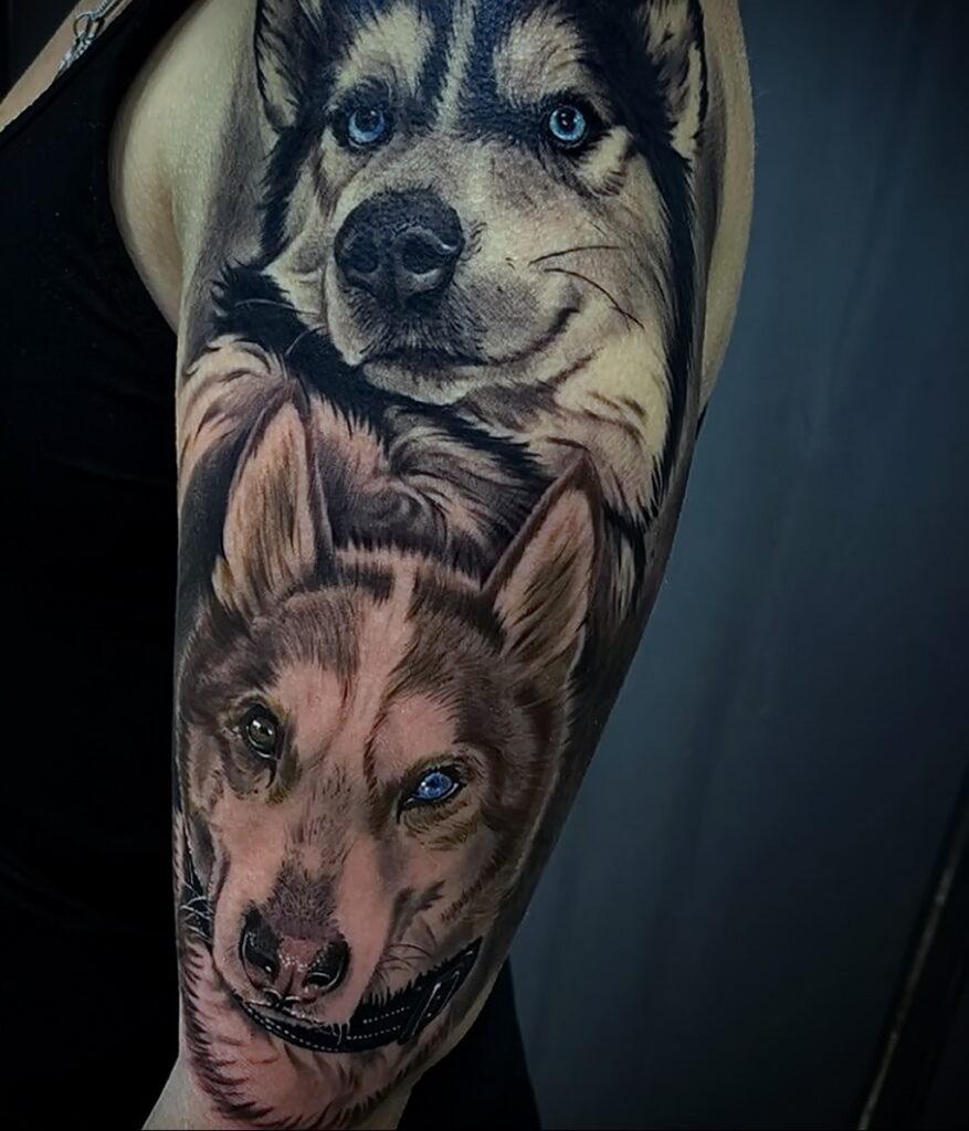Фото Рисунка тату с собакой породы Хаски 08.03.2021 №315 - husky tattoo - tatufoto.com