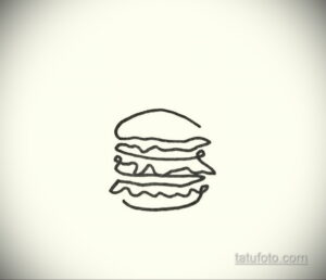 Фото рисунка татуировки с гамбургером 26.03.2021 №007 - burger tattoo - tatufoto.com