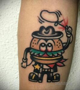 Фото рисунка татуировки с гамбургером 26.03.2021 №008 - burger tattoo - tatufoto.com