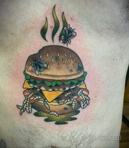 Фото рисунка татуировки с гамбургером 26.03.2021 №009 - burger tattoo - tatufoto.com