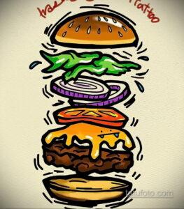 Фото рисунка татуировки с гамбургером 26.03.2021 №019 - burger tattoo - tatufoto.com