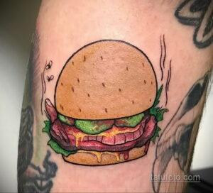 Фото рисунка татуировки с гамбургером 26.03.2021 №025 - burger tattoo - tatufoto.com