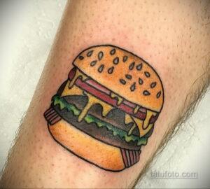 Фото рисунка татуировки с гамбургером 26.03.2021 №029 - burger tattoo - tatufoto.com