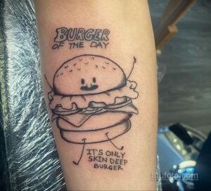 Фото рисунка татуировки с гамбургером 26.03.2021 №037 - burger tattoo - tatufoto.com