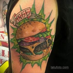 Фото рисунка татуировки с гамбургером 26.03.2021 №039 - burger tattoo - tatufoto.com