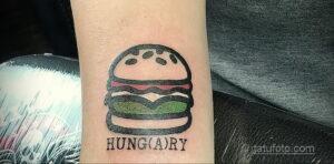 Фото рисунка татуировки с гамбургером 26.03.2021 №040 - burger tattoo - tatufoto.com