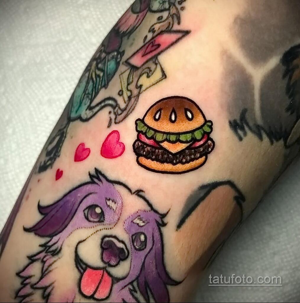 Фото рисунка татуировки с гамбургером 26.03.2021 №041 - burger tattoo - tatufoto.com