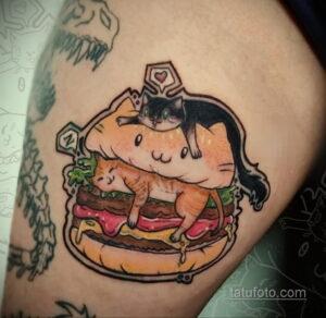 Фото рисунка татуировки с гамбургером 26.03.2021 №047 - burger tattoo - tatufoto.com