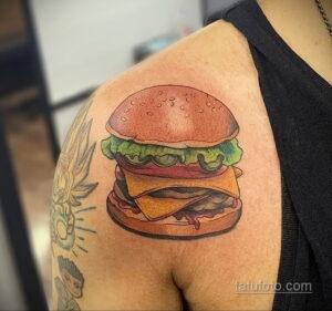 Фото рисунка татуировки с гамбургером 26.03.2021 №055 - burger tattoo - tatufoto.com