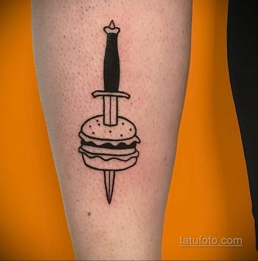Фото рисунка татуировки с гамбургером 26.03.2021 №064 - burger tattoo - tatufoto.com