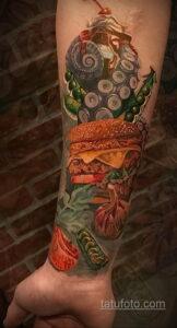 Фото рисунка татуировки с гамбургером 26.03.2021 №065 - burger tattoo - tatufoto.com