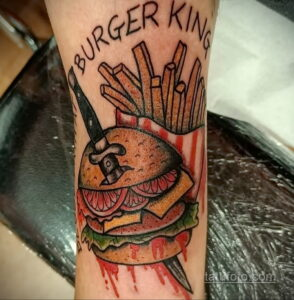 Фото рисунка татуировки с гамбургером 26.03.2021 №067 - burger tattoo - tatufoto.com