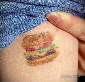 Фото рисунка татуировки с гамбургером 26.03.2021 №070 - burger tattoo - tatufoto.com