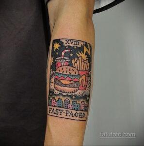 Фото рисунка татуировки с гамбургером 26.03.2021 №074 - burger tattoo - tatufoto.com