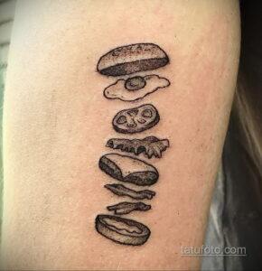 Фото рисунка татуировки с гамбургером 26.03.2021 №076 - burger tattoo - tatufoto.com