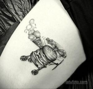 Фото рисунка татуировки с гамбургером 26.03.2021 №084 - burger tattoo - tatufoto.com
