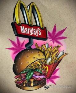 Фото рисунка татуировки с гамбургером 26.03.2021 №091 - burger tattoo - tatufoto.com