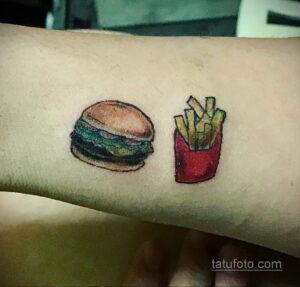 Фото рисунка татуировки с гамбургером 26.03.2021 №092 - burger tattoo - tatufoto.com