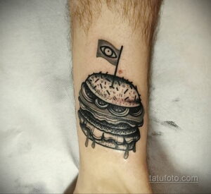 Фото рисунка татуировки с гамбургером 26.03.2021 №098 - burger tattoo - tatufoto.com
