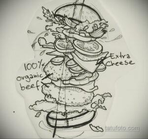 Фото рисунка татуировки с гамбургером 26.03.2021 №102 - burger tattoo - tatufoto.com