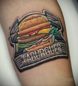 Фото рисунка татуировки с гамбургером 26.03.2021 №108 - burger tattoo - tatufoto.com