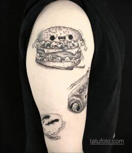 Фото рисунка татуировки с гамбургером 26.03.2021 №113 - burger tattoo - tatufoto.com