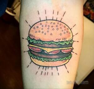 Фото рисунка татуировки с гамбургером 26.03.2021 №114 - burger tattoo - tatufoto.com