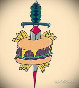 Фото рисунка татуировки с гамбургером 26.03.2021 №115 - burger tattoo - tatufoto.com
