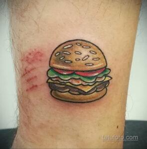 Фото рисунка татуировки с гамбургером 26.03.2021 №117 - burger tattoo - tatufoto.com