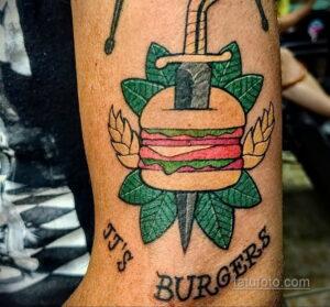 Фото рисунка татуировки с гамбургером 26.03.2021 №118 - burger tattoo - tatufoto.com