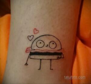 Фото рисунка татуировки с гамбургером 26.03.2021 №140 - burger tattoo - tatufoto.com