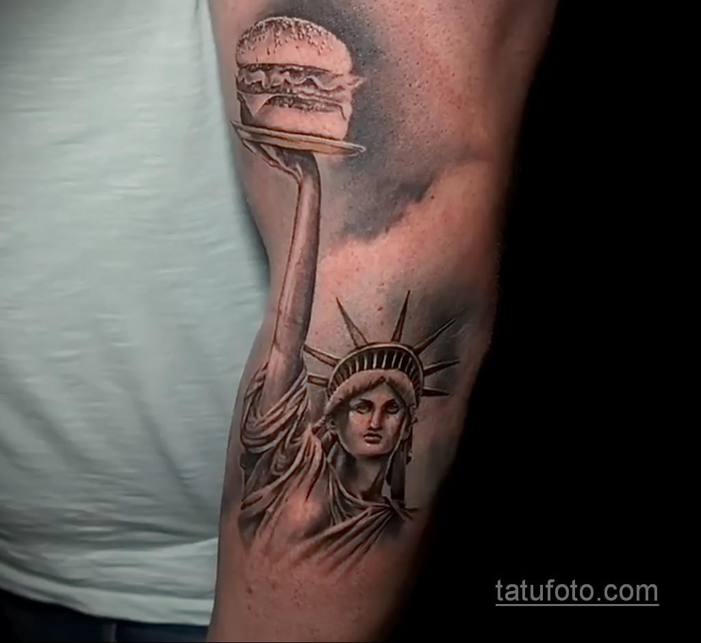 Фото рисунка татуировки с гамбургером 26.03.2021 №262 - burger tattoo - tatufoto.com