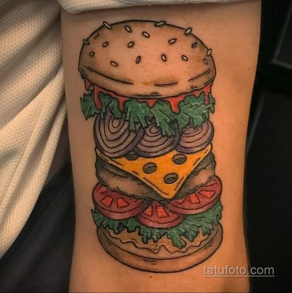 Фото рисунка татуировки с гамбургером 26.03.2021 №267 - burger tattoo - tatufoto.com